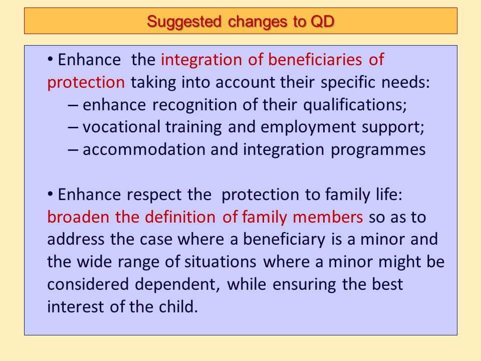 Suggested changes to QD