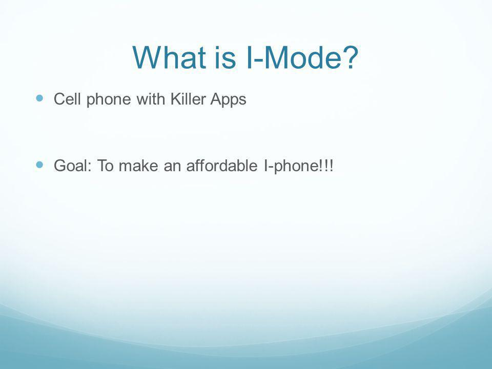 What is I-Mode Cell phone with Killer Apps
