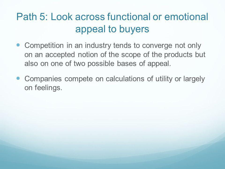 Path 5: Look across functional or emotional appeal to buyers