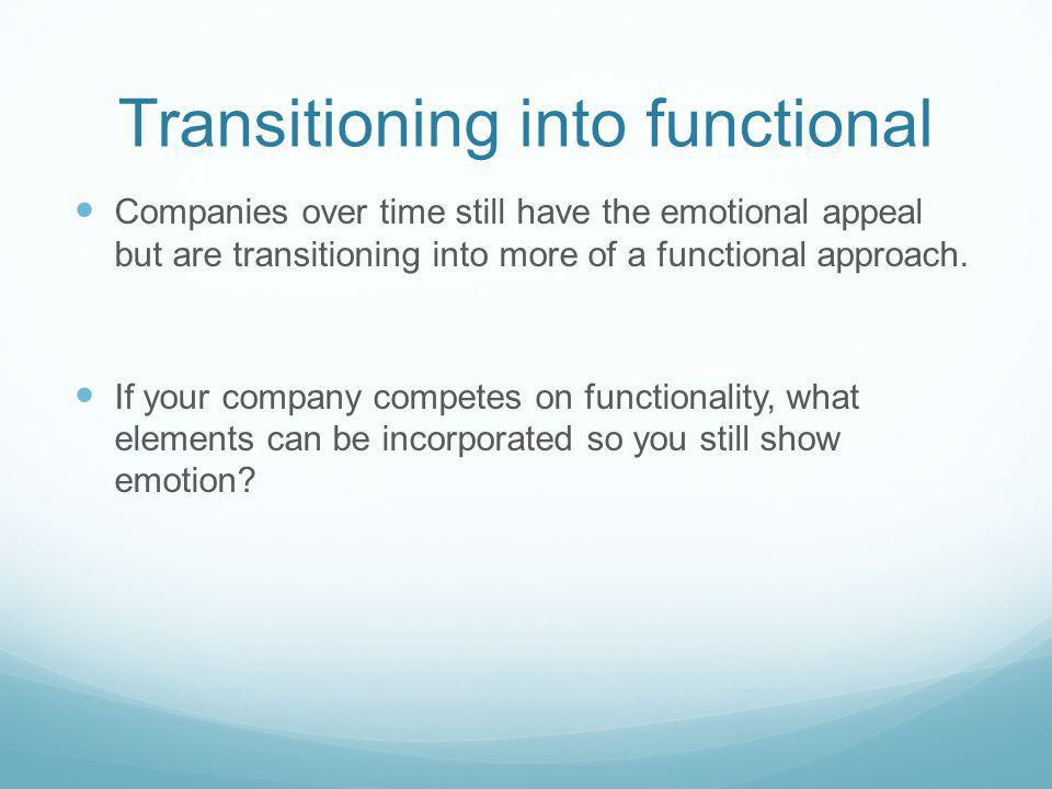 Transitioning into functional