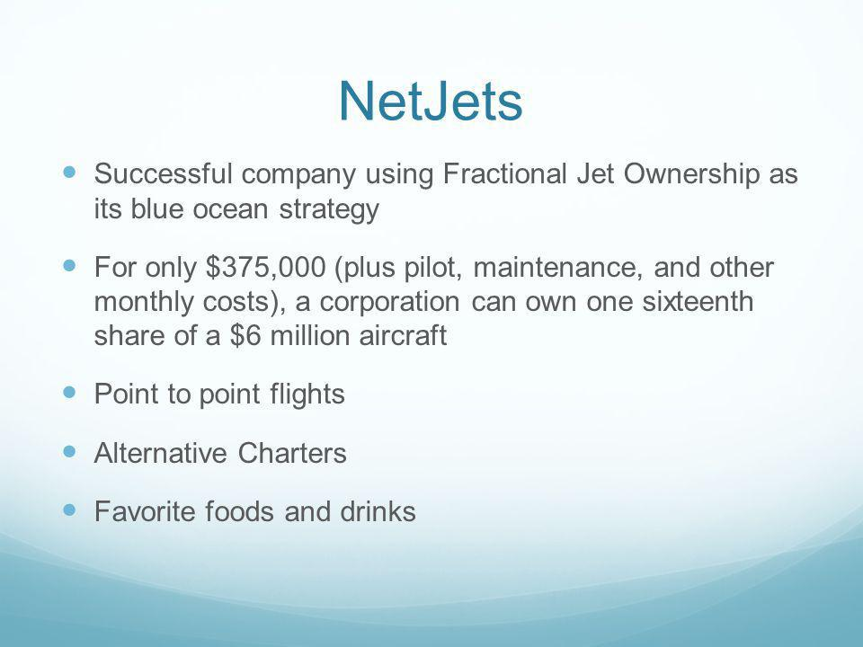 NetJets Successful company using Fractional Jet Ownership as its blue ocean strategy.
