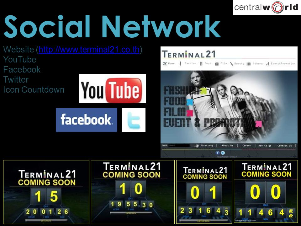 Social Network Website (http://www.terminal21.co.th) YouTube Facebook