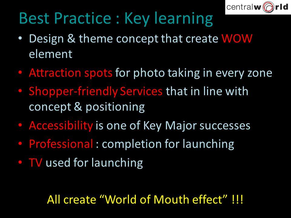 Best Practice : Key learning