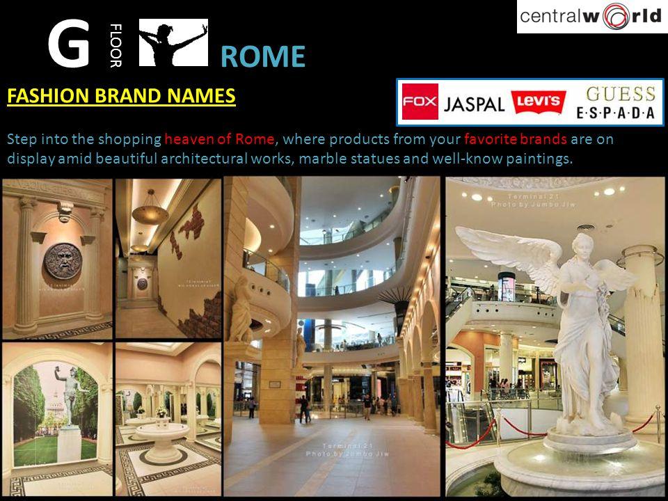 G ROME FASHION BRAND NAMES FLOOR