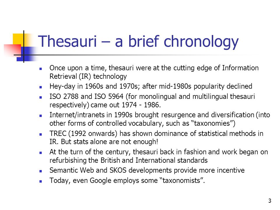 Thesauri – a brief chronology