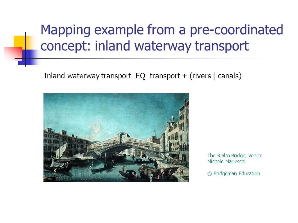 Mapping example from a pre-coordinated concept: inland waterway transport