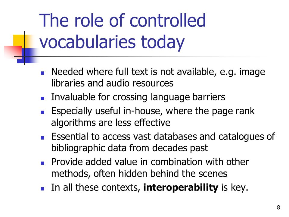 The role of controlled vocabularies today