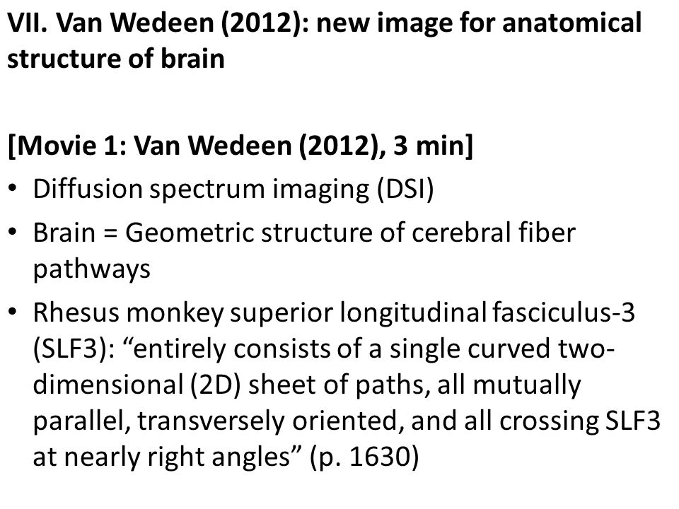 VII. Van Wedeen (2012): new image for anatomical structure of brain