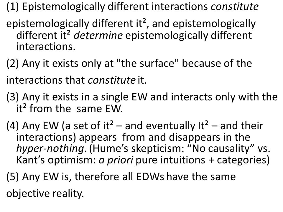 (1) Epistemologically different interactions constitute
