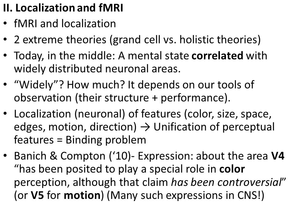 II. Localization and fMRI