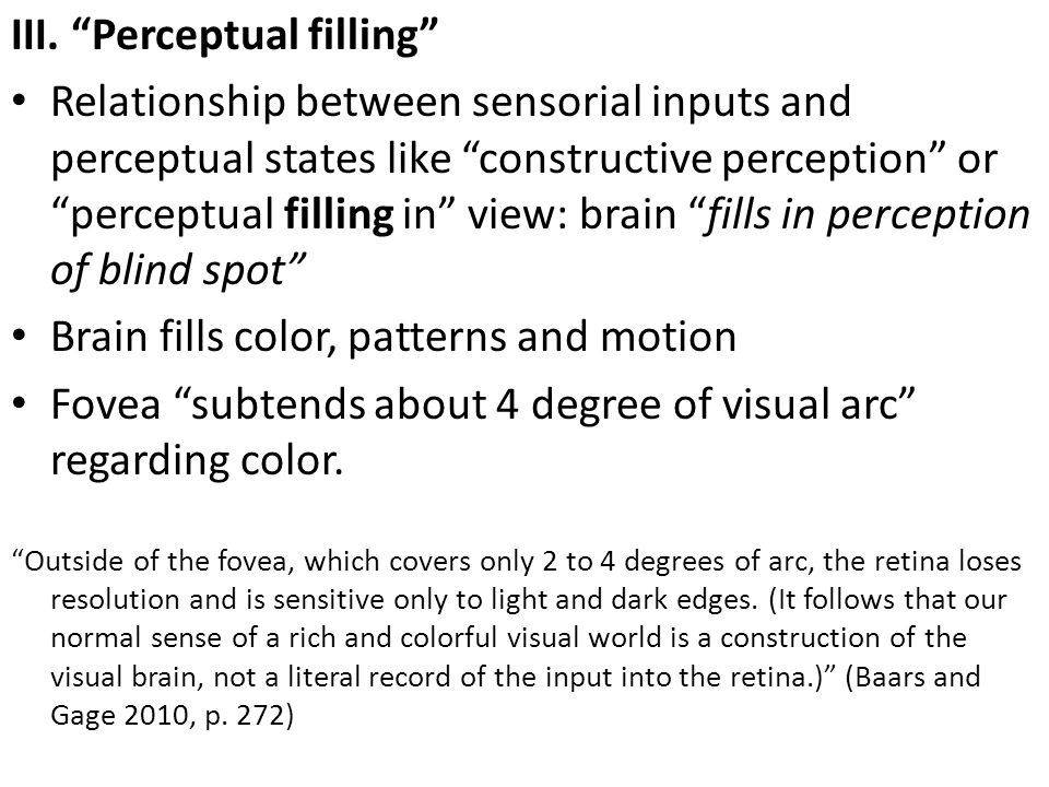 III. Perceptual filling
