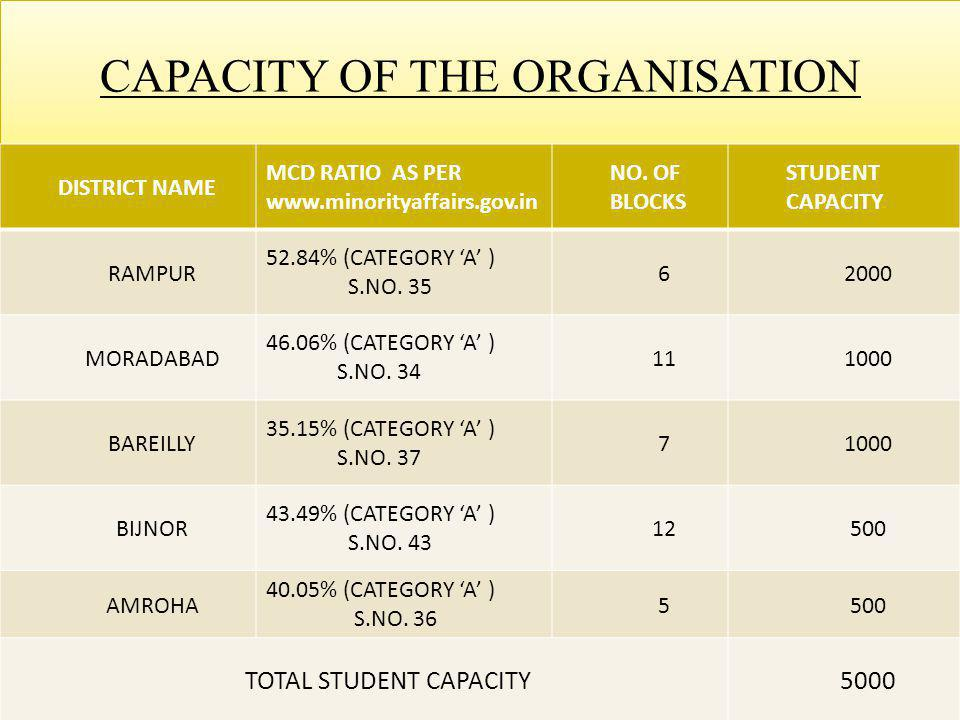CAPACITY OF THE ORGANISATION