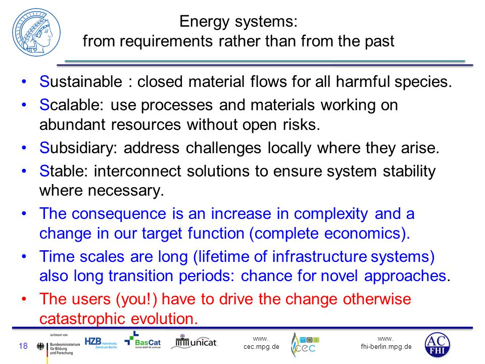 Energy systems: from requirements rather than from the past