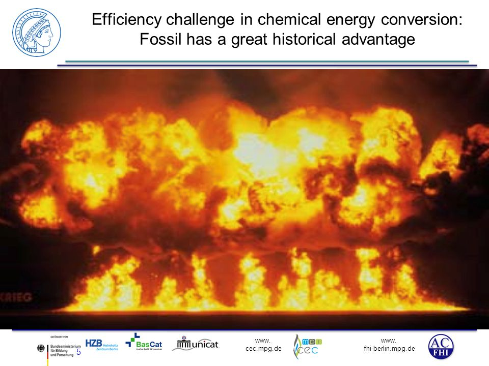 Efficiency challenge in chemical energy conversion: Fossil has a great historical advantage