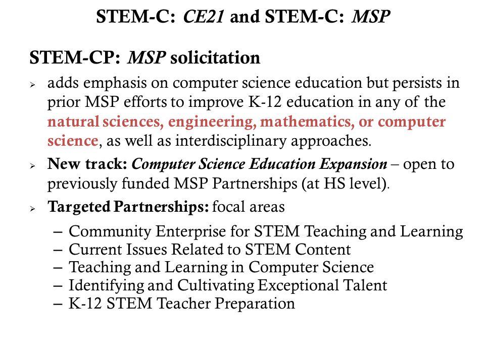STEM-C: CE21 and STEM-C: MSP