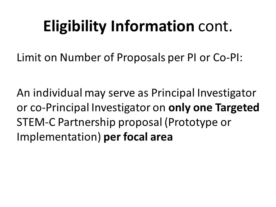 Eligibility Information cont.