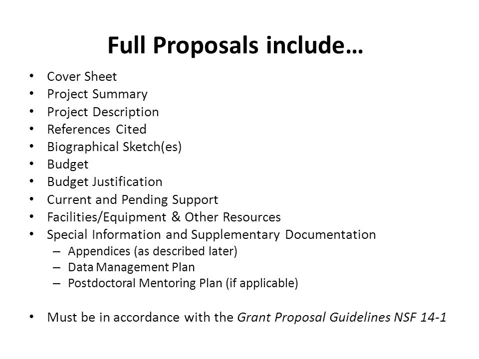 Full Proposals include…