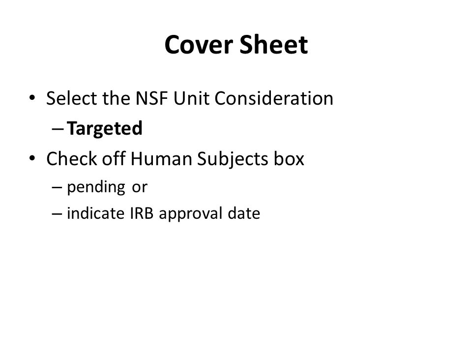 Cover Sheet Select the NSF Unit Consideration Targeted