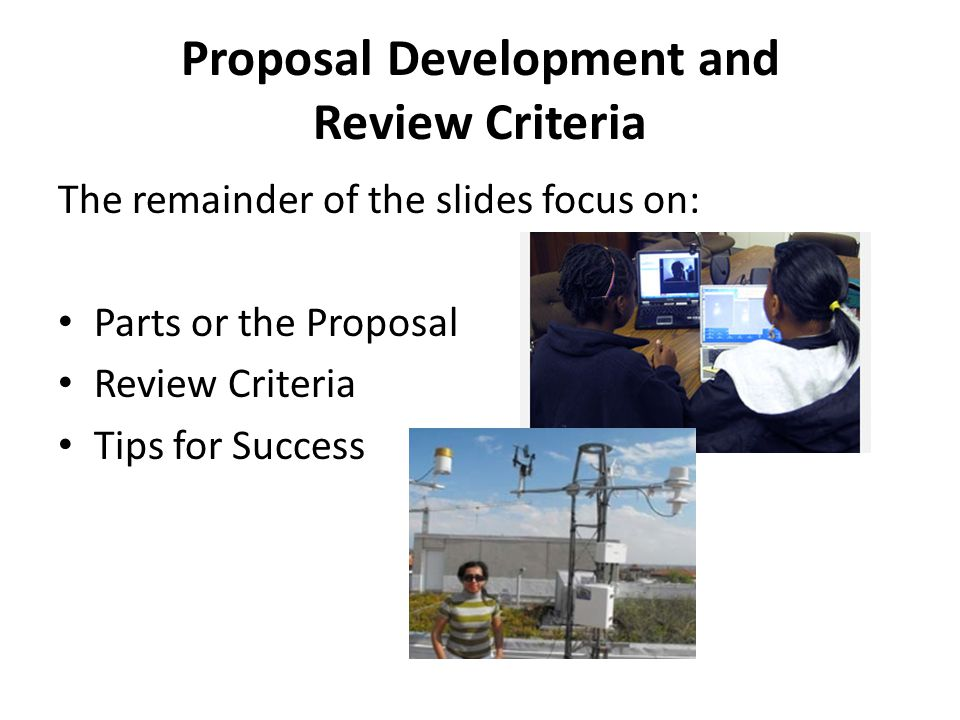 Proposal Development and Review Criteria