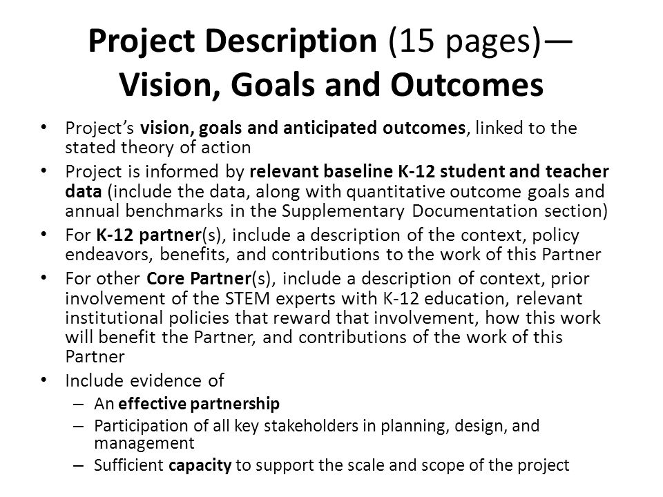 Project Description (15 pages)—Vision, Goals and Outcomes