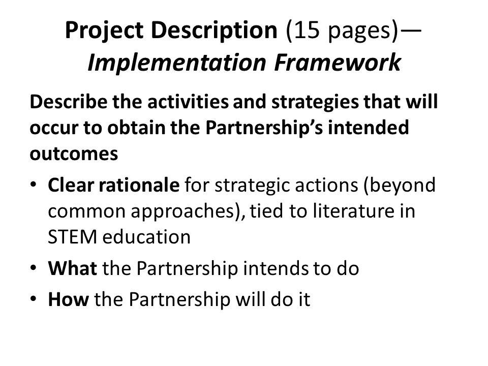 Project Description (15 pages)—Implementation Framework