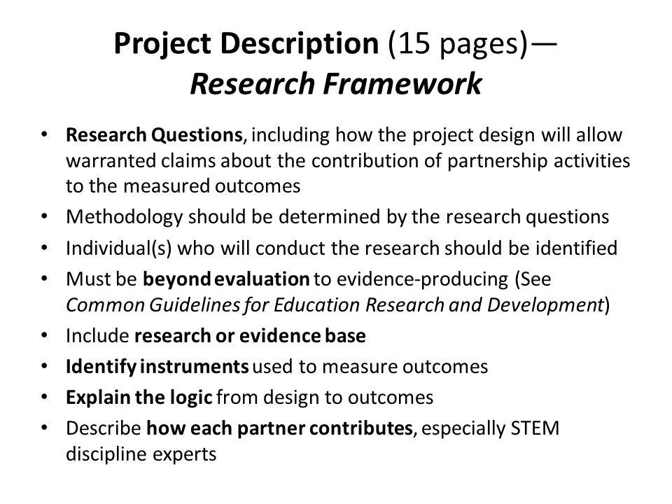 Project Description (15 pages)— Research Framework