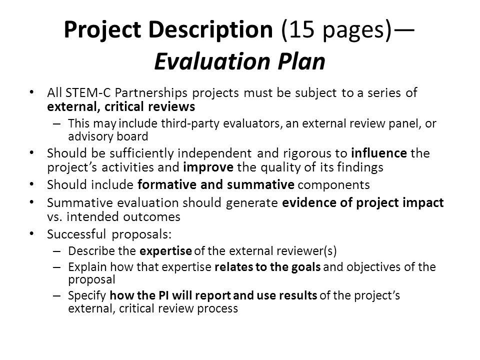 Project Description (15 pages)—Evaluation Plan