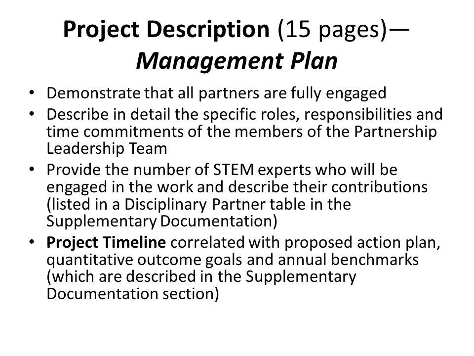 Project Description (15 pages)—Management Plan