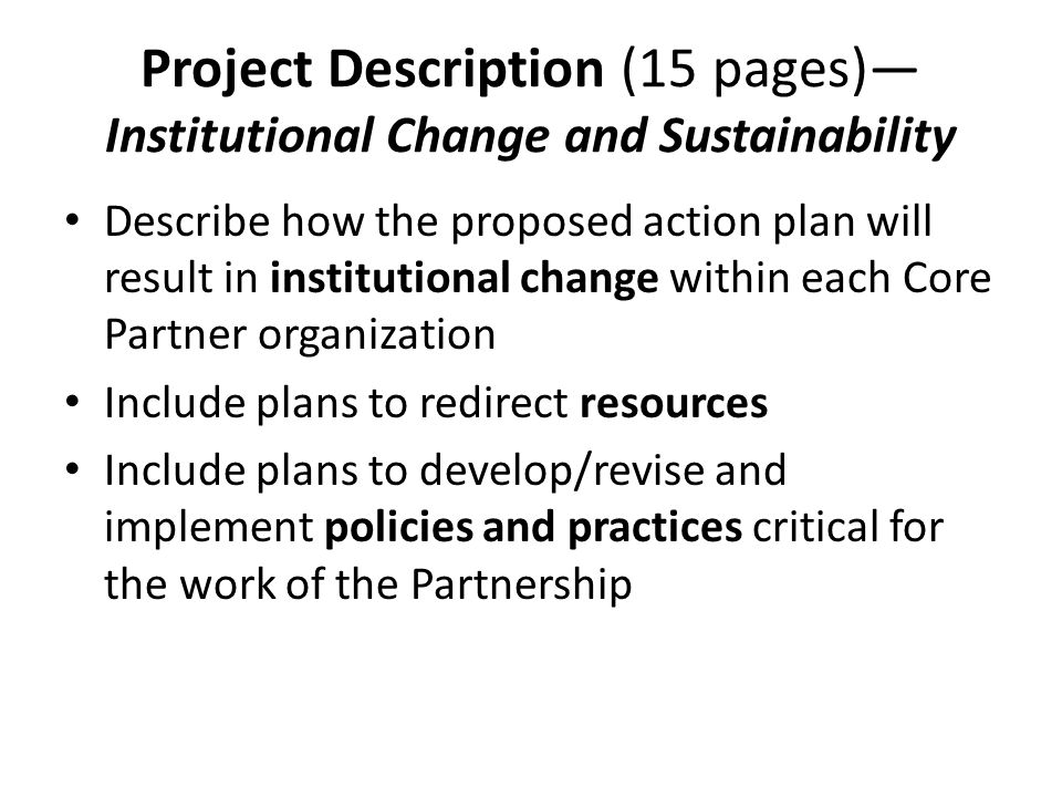 Project Description (15 pages)—Institutional Change and Sustainability