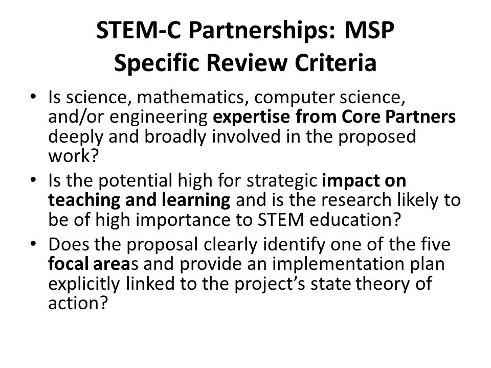 STEM-C Partnerships: MSP Specific Review Criteria