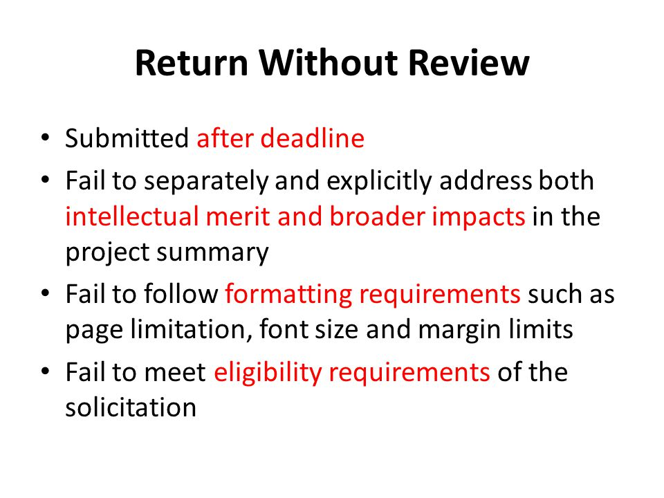 Return Without Review Submitted after deadline