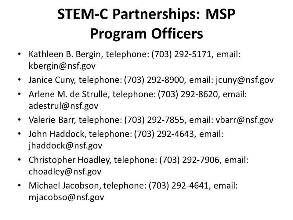 STEM-C Partnerships: MSP Program Officers