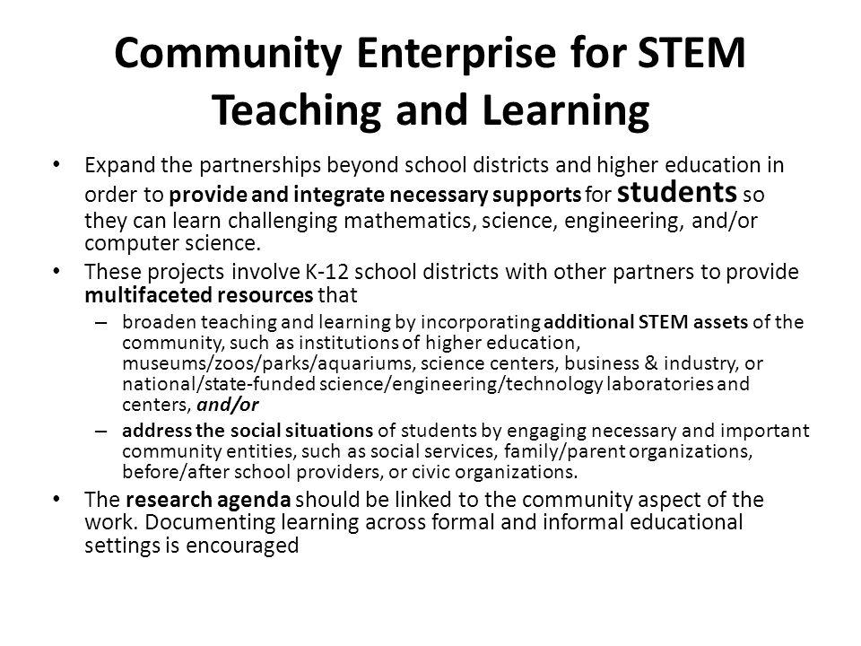 Community Enterprise for STEM Teaching and Learning