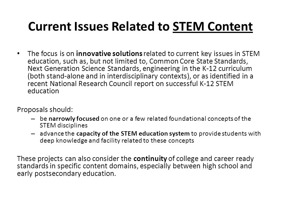 Current Issues Related to STEM Content