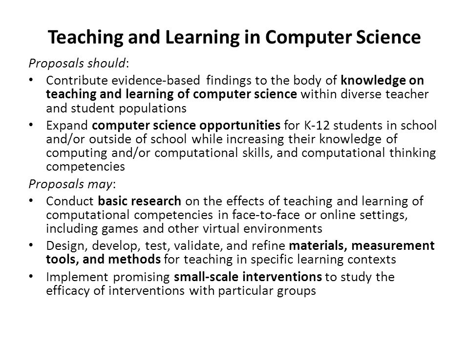 Teaching and Learning in Computer Science