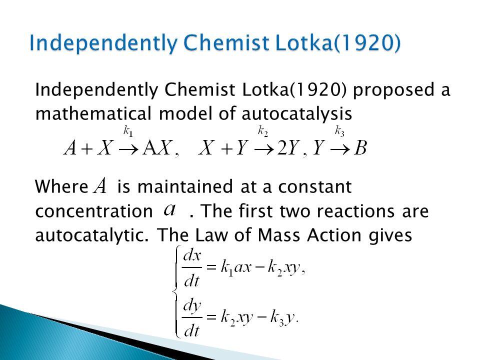 Independently Chemist Lotka(1920)