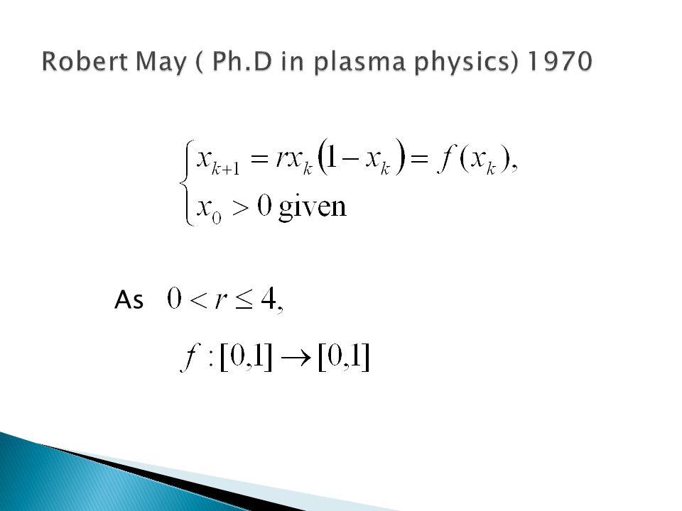Robert May ( Ph.D in plasma physics) 1970