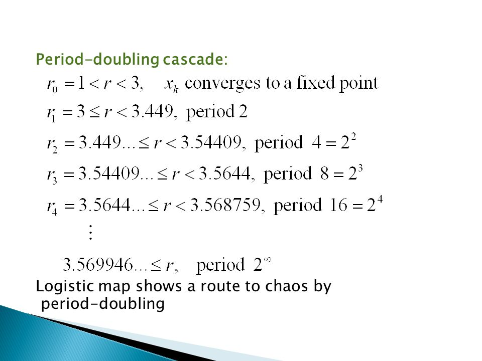Period-doubling cascade: Logistic map shows a route to chaos by period-doubling