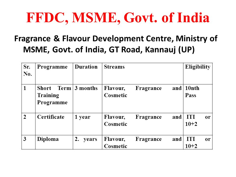 FFDC, MSME, Govt. of India Fragrance & Flavour Development Centre, Ministry of MSME, Govt. of India, GT Road, Kannauj (UP)