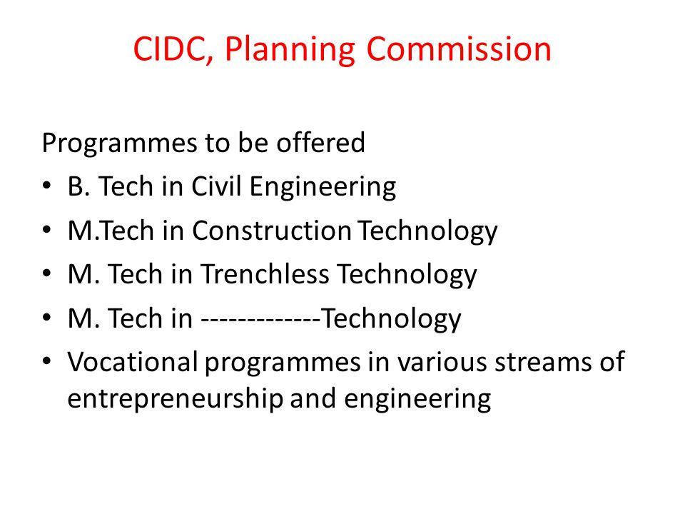 CIDC, Planning Commission