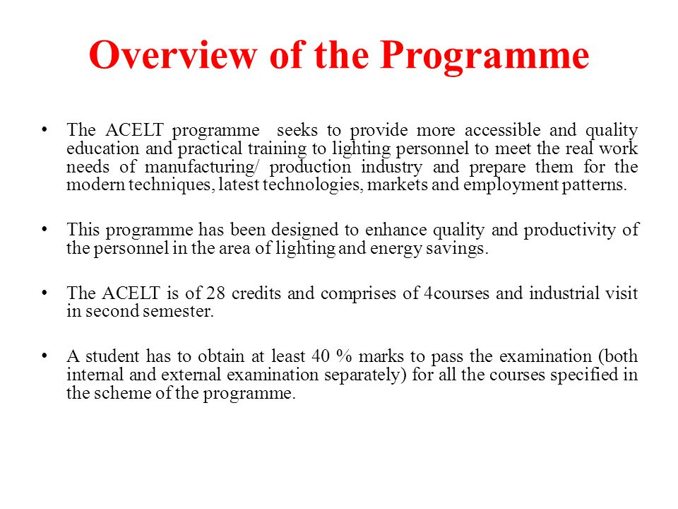 Overview of the Programme