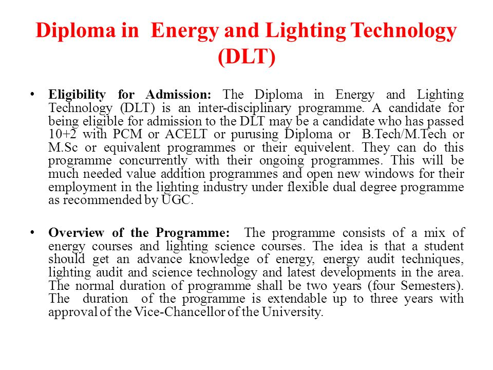 Diploma in Energy and Lighting Technology (DLT)