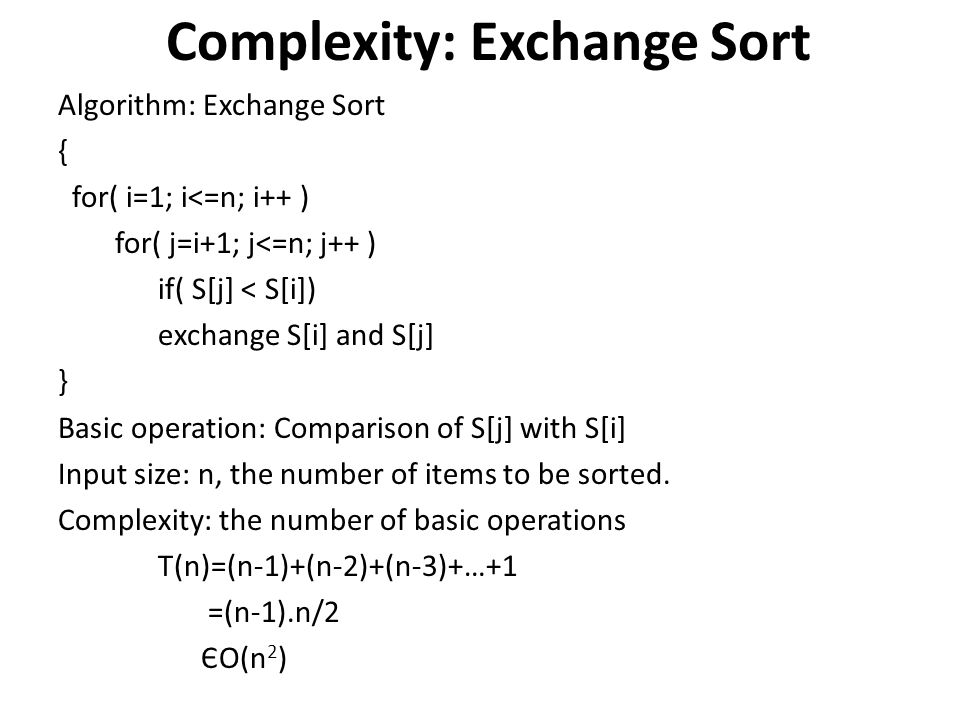 Complexity: Exchange Sort