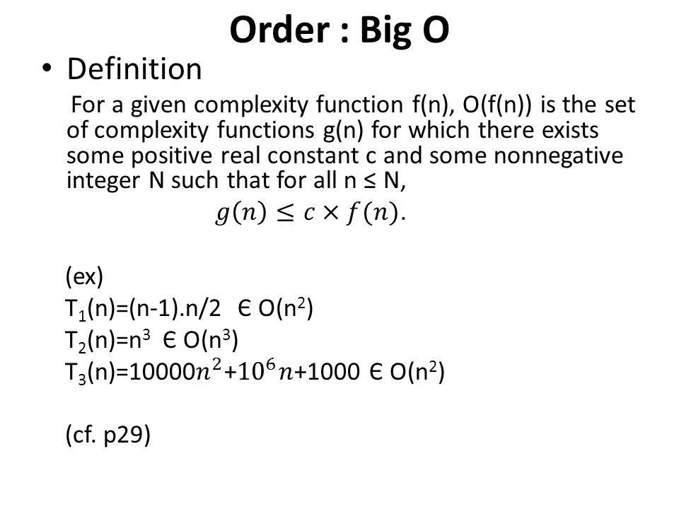 Order : Big O Definition