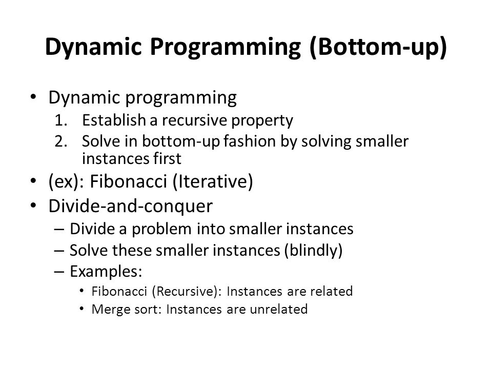 Dynamic Programming (Bottom-up)