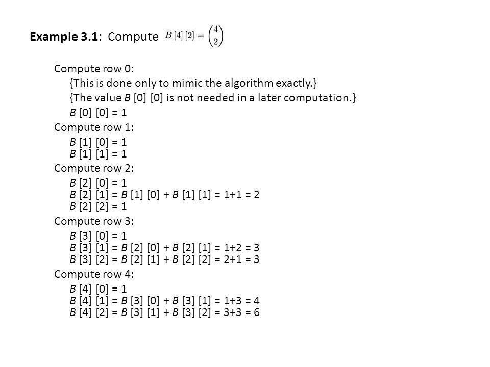 Example 3.1: Compute Compute row 0: