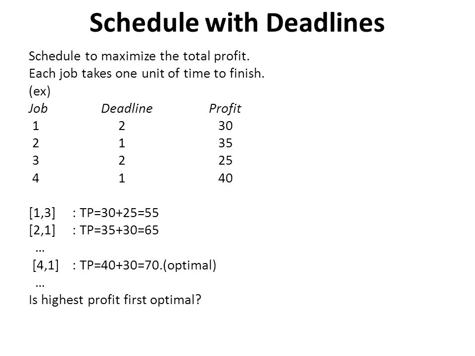 Schedule with Deadlines