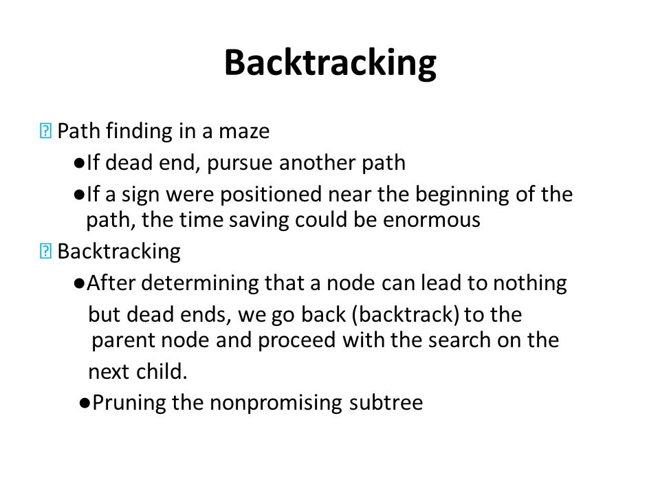 Backtracking