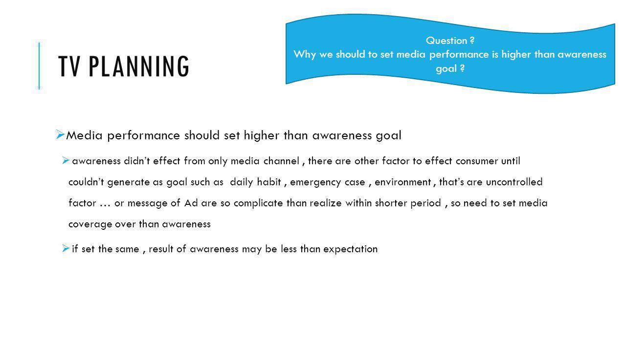 Why we should to set media performance is higher than awareness goal