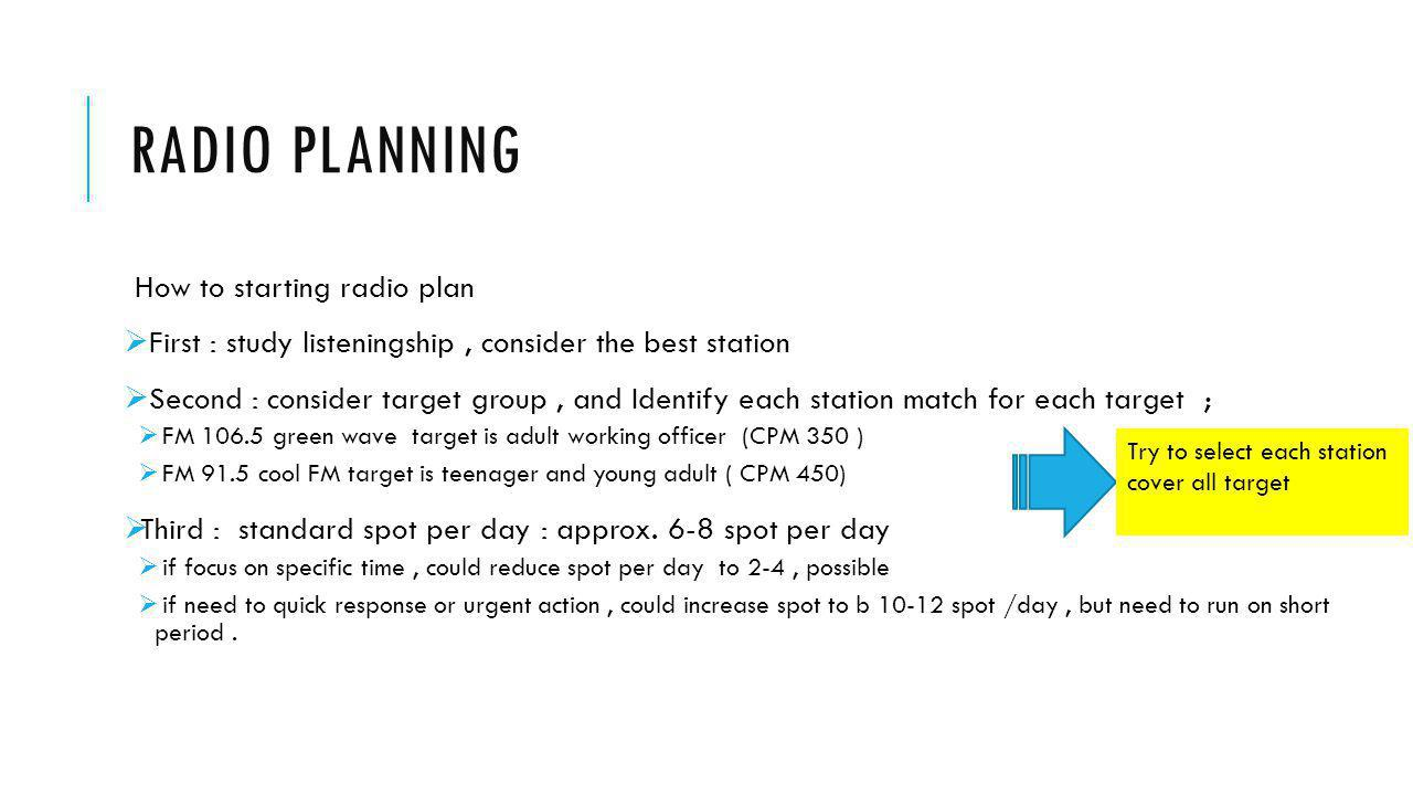 Radio planning How to starting radio plan